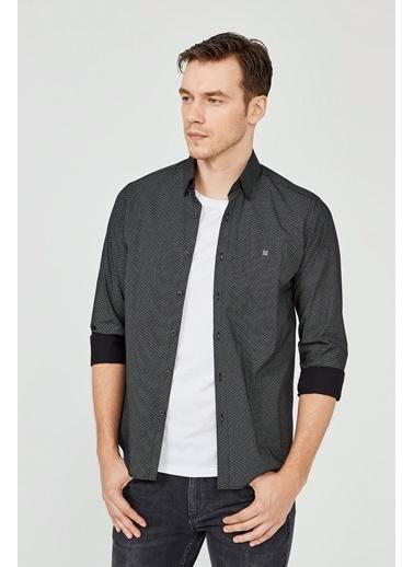 Avva Erkek  Baskılı Gömlek A02Y2240 Siyah